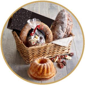 Echte Bakker Frentz - specialiteiten - kerst geschenken - geschenkmand rond